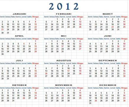 Kalender 2012 Libur nasional dan agenda cuti bersama
