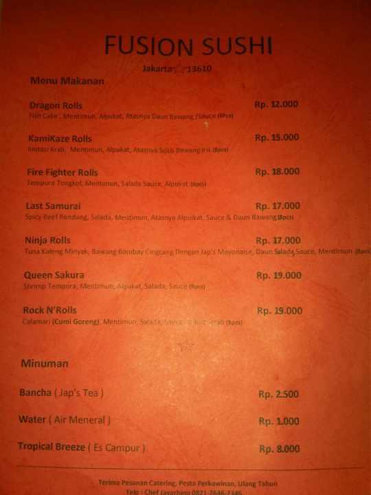menu fusion sushi Jakarta Pondok Gede