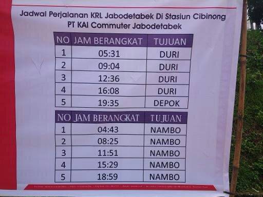 Jadwal keberangkatan kereta Api Stasiun Cibinong